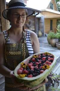 Sage and her beautiful local fruit creation!